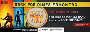 Bands Wanted for Rock for Dimes Edmonton 2014